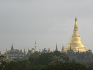 Schwedagon Pagoda - perched above Yangon
