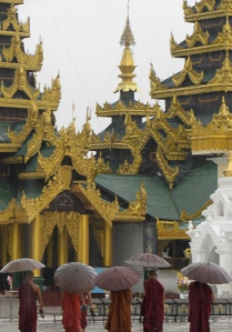 Monks in the rain - Yangon