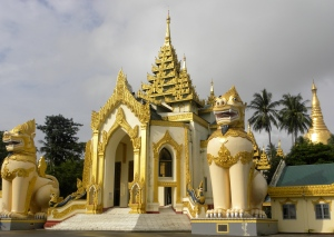 2 Chinthes at West Entrance of Schwedagon Pagoda