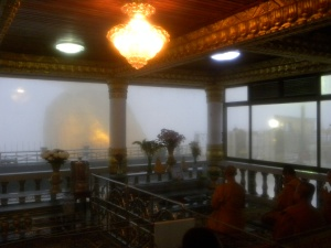 Prayer Room with monks at the Golden Rock