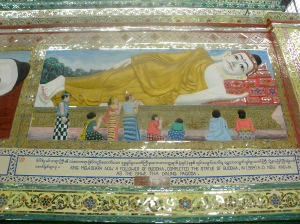Scene memorializing the building of the Shwethalyauang Buddha
