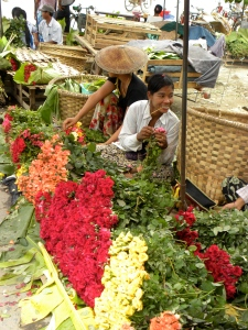 Burmese girl at Mandalay  Flower Market
