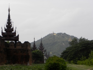 View of Mandalay Hill from palace wall