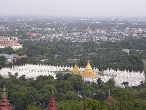 View of Sandamuni Paya from Mandalay Hill [each of the white stupas contains a marble slab with a page of the Tripitaka]