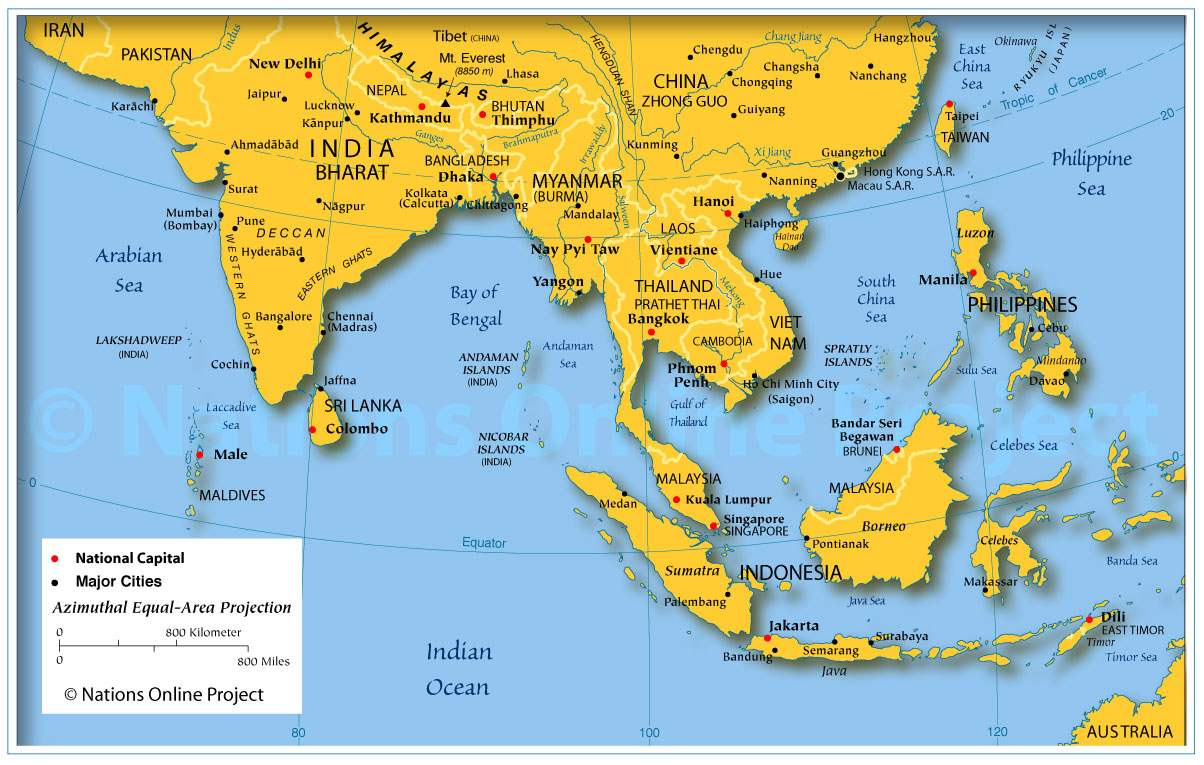 Map of Indian Subcontinent and SE Asia Start Up Koan