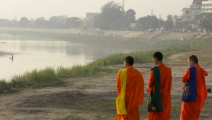Young Laotian Monks looking over the Mekong - Vientiane, Laos (2014)