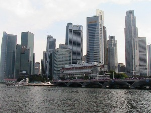 Singapore skyline with Merlion fountain righthand corner - (2008)