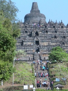 Approach to Borobudur - Central Java, Indonesia